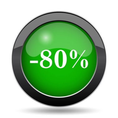 80 percent discount icon, green website button on white background