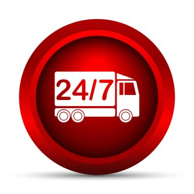 24 7 delivery truck icon. Internet button on white background