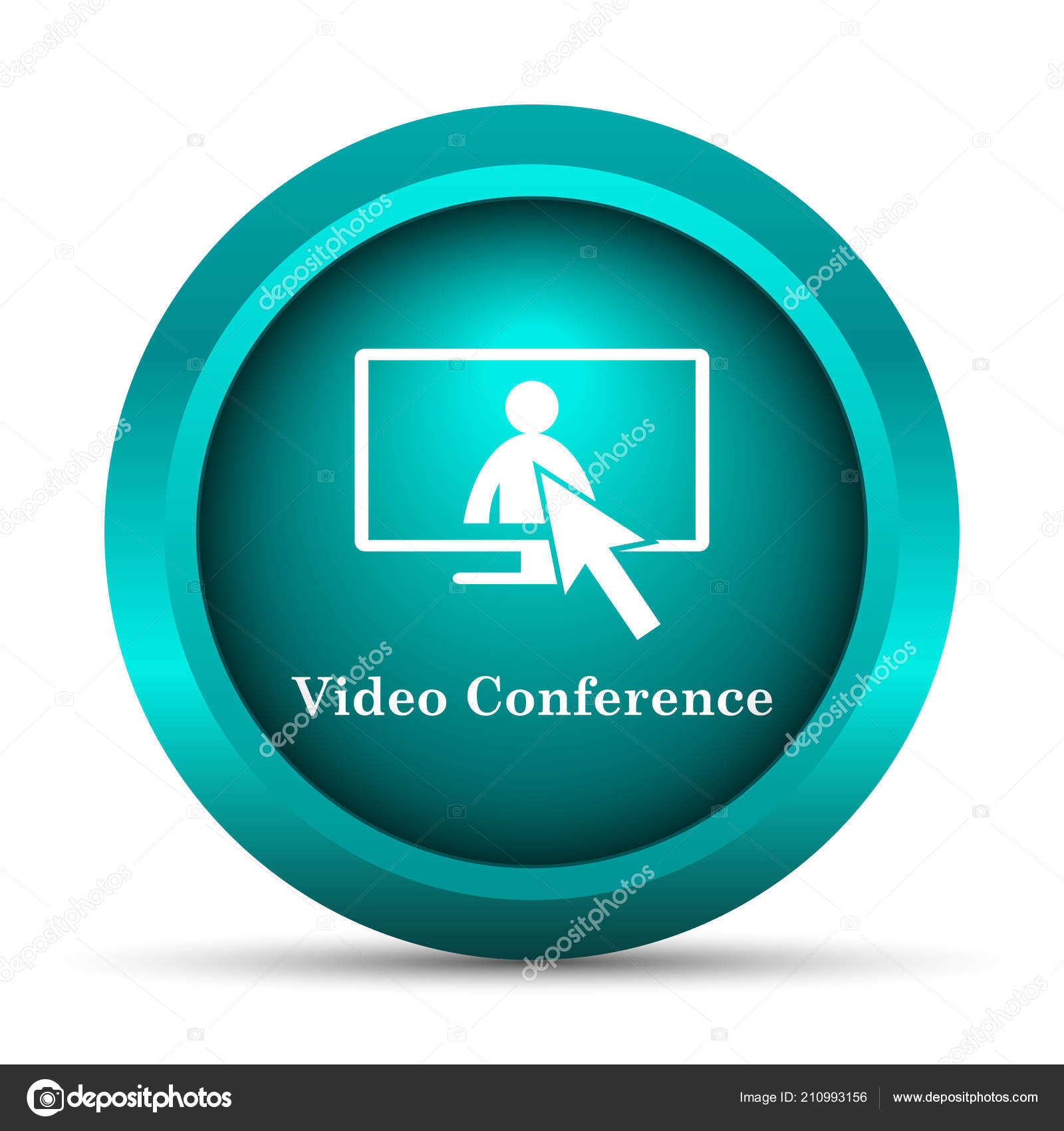 Video Conference Online Meeting Icon Internet Button White