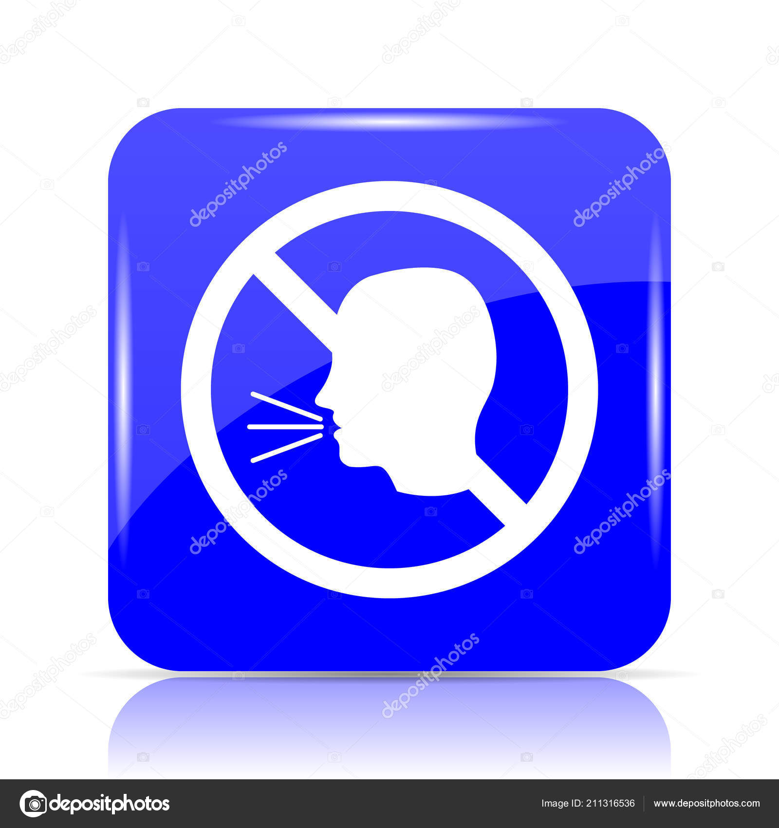 Talking Icon Blue Website Button White Background — Stock