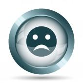 Sad smiley icon. Internet button on white background.