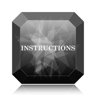 Instructions icon, black website button on white background