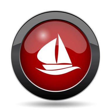 Sailboat icon. Internet button on white background