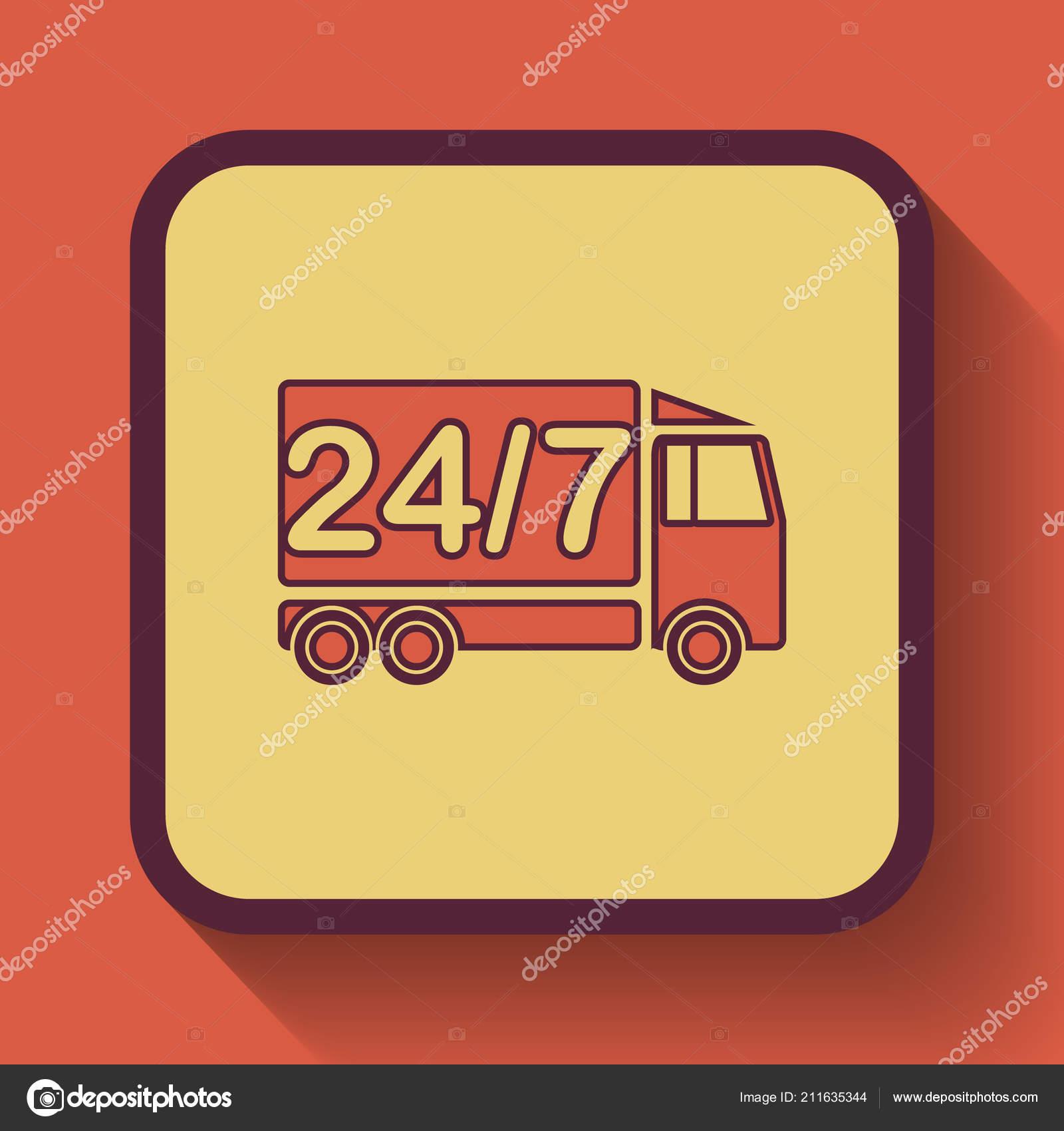Delivery Truck Icon Colored Website Button Orange Background