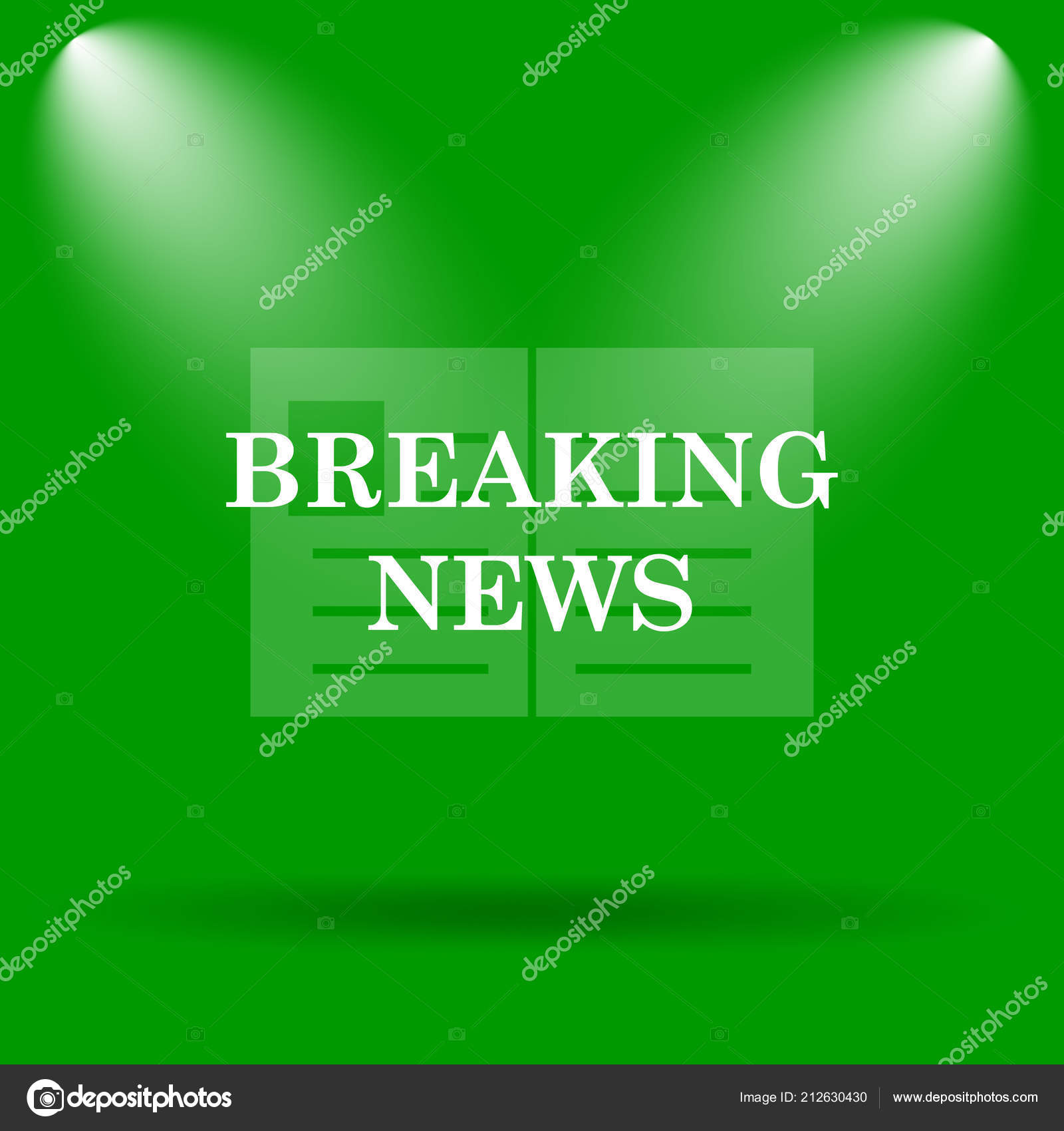Breaking News Icon Internet Button Green Background — Stock
