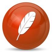 Feather icon. Internet button on white background