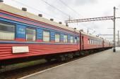 Photo Old railroad cars. Old train. The Train Batumi - Yerevan. Batumi railway station.