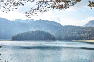 Black lake. Durmitor national Park. Montenegro. Summer. stock vector