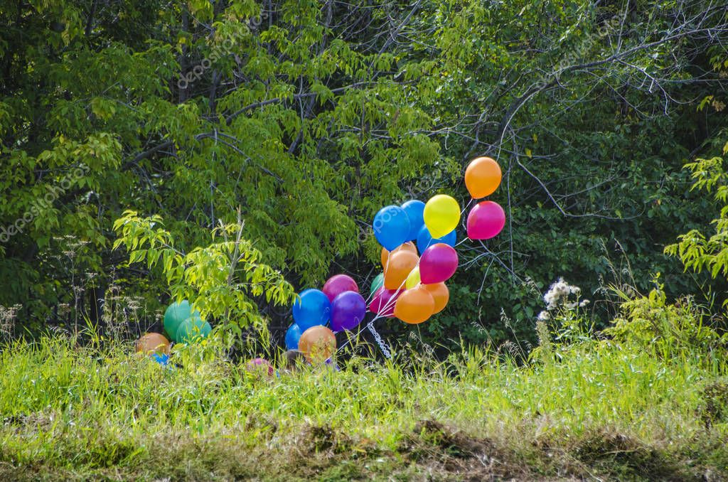 Beautiful and diverse subject. Beautiful and colorful multicolored festive balloons in large quantities against the backdrop of greenery and forests, trees.