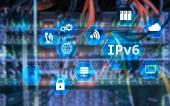 Fotografie IPv6-Netzwerk-Technologie-Konzept auf Server raumhintergrund
