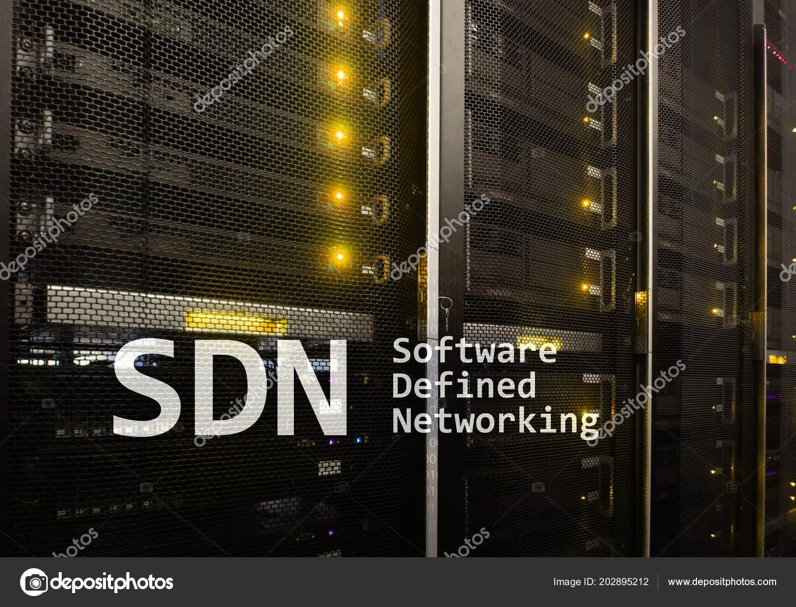 SDN, Software Defined Networking Concept On Modern Server Room Background.  U2014 Foto De Funtap