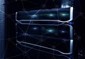 Fotografie Wi-Fi Netzwerk abstrakte Struktur auf moderne Server raumhintergrund