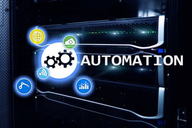 Automation of business Process and innovation technology in manufacturing. Internet and technology concept on server room background.Automation of business Process and innovation technology in manufacturing. Internet and technology concept on server