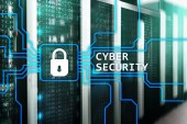 Fotografie Cyber security, information privacy and data protection concept on server room background.