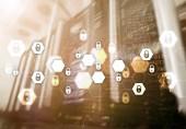 Kybernetická bezpečnost, ochrana údajů, ochrana osobních údajů. Internet a technologie koncept.