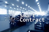 Fotografie Smart contract, blockchain technology in business, finance hi-tech concept. Skyscrapers background.