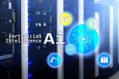 Fotografie AI, umělá inteligence, automatizace a moderních informačních technologií koncepce na virtuální obrazovce