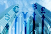 Double exposure business and financial concept. Currency growth arrows. Stock trading and forex.