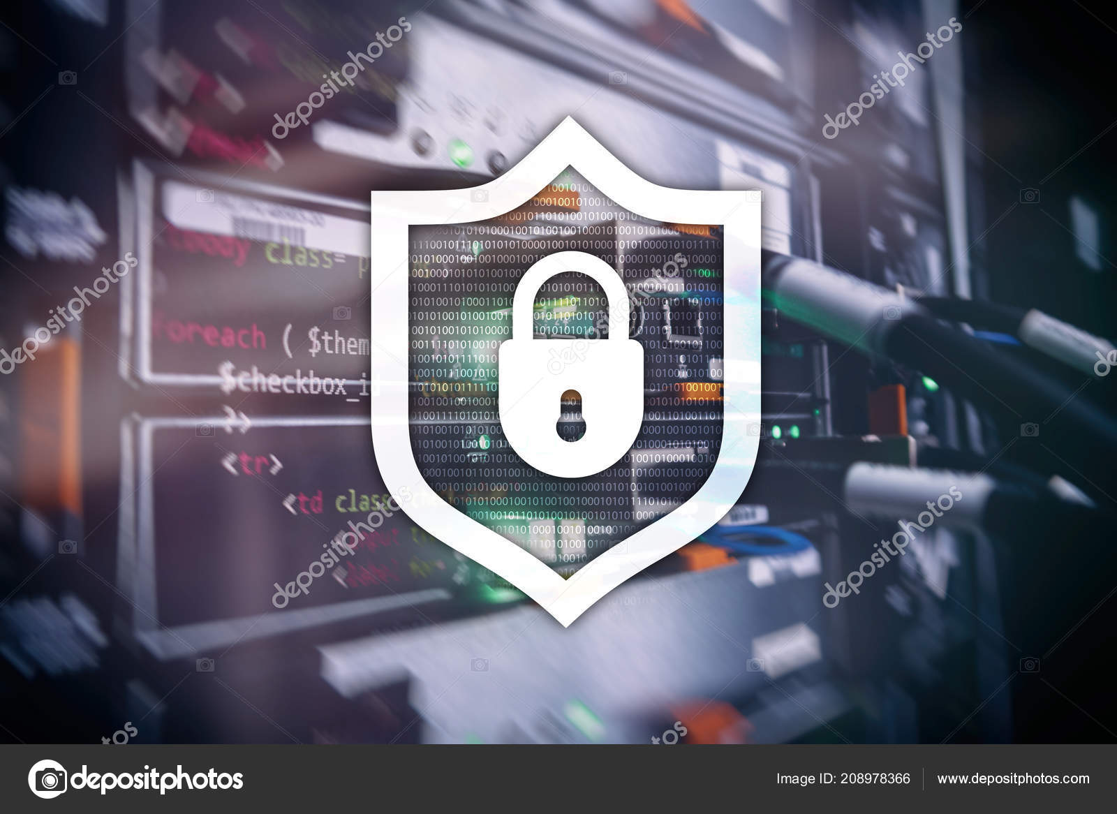 Cyber Protection Shield Icon Server Room Background Information Circuit Board Virus Text Stock Image On Security And Detection Photo By Funtap
