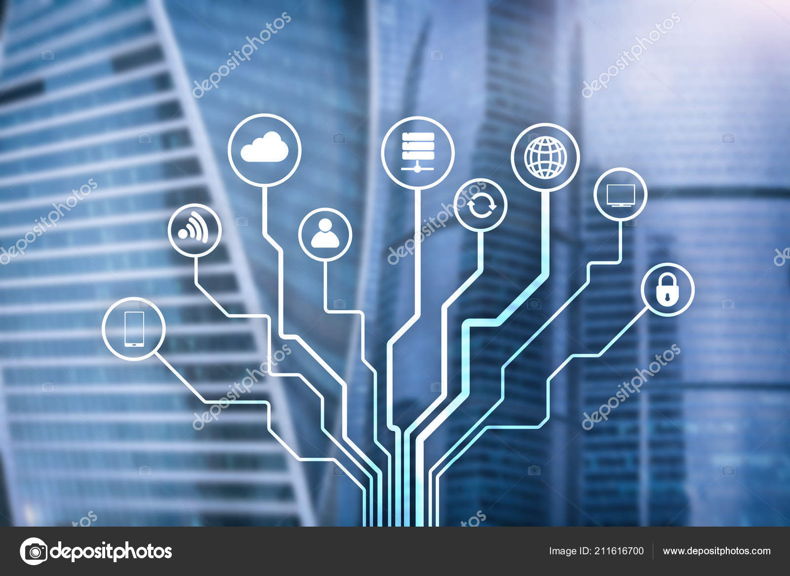 Telecommunication Iot Concept Blurred Business Center Background Circuit Board Virus Text Stock Image Photo