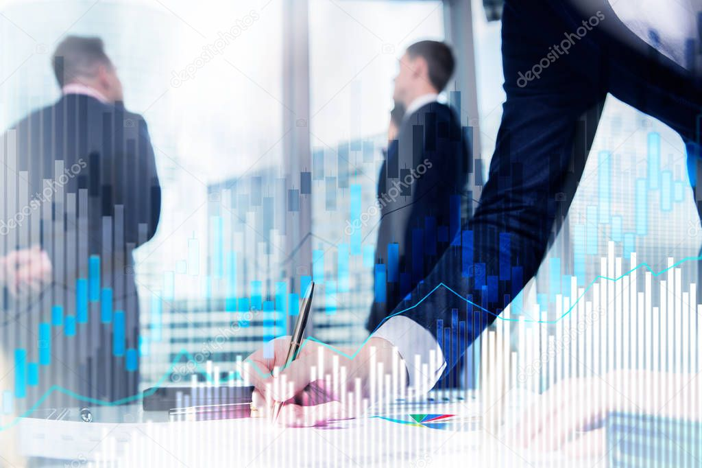 Stock trading candlestick chart and diagrams on blurred office center background. stock vector