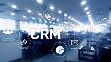 CRM, Customer relationship management system concept on abstract blurred background.