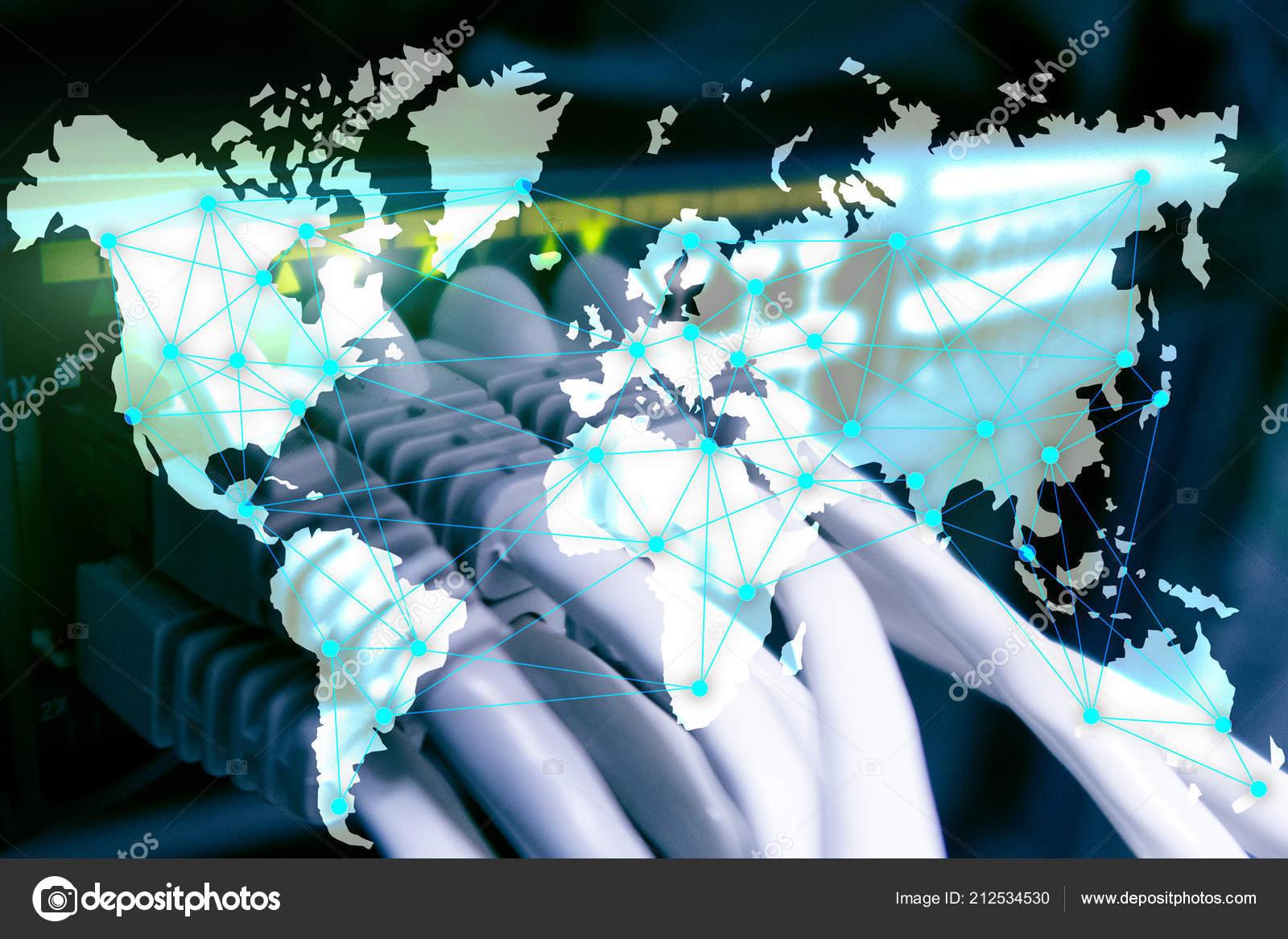 Internet Telecommunication Concept World Map Server Room