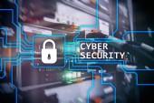 Számítógépes biztonság, adatvédelem és adatok védelme koncepció a szerver szobában háttér.