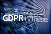 Fotografie GDPR, General data protection regulation compliance. Server room background.