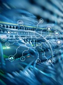 ICT – informační a komunikační technologie koncept na serveru pokoj pozadí.