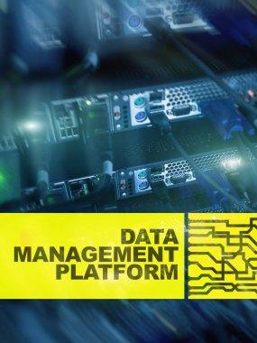 Data management and analysis platform concept on server room background.