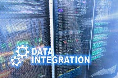 Data integration information technology concept on server room background. stock vector