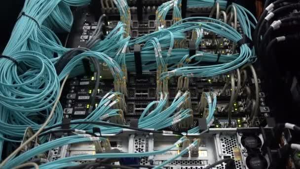 Fiber optic berendezések az adatközpontokban. Optikai kábel közelről. Video birtokol egy kis zaj