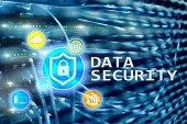 Adatbiztonság, cyber bűnözés megelőzése, a digitális információk védelme. Bezár a ikonok és a szerver szobában háttér.