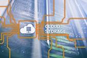 Fotografia Concetto della nuvola di archiviazione dati su fondo sala server