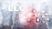 Gesellschaft mit beschränkter Haftung-Konzept. Symbole auf virtuellen Bildschirm. Betriebswirtschaftlicher Hintergrund.