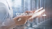 Compliance diagram with icons. Business concept on abstract background