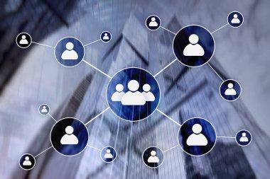 HR - Human resources management concept on blurred business center background