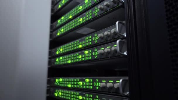 Seitenansicht. Web-Netzwerk, Internet-Telekommunikationstechnologie, Big-Data-Speicherung. Innenraum des Serverraums im Rechenzentrum im grünen Licht.