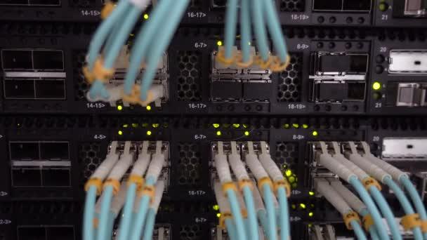 Telekommunikation Breitband Glasfaser Optische Kabel. Datacenter Rack. Blinken Sie Green Led Lights.