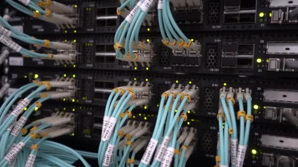 Glasfaserkabel schließen sich am Rechenzentrum an. Telekommunikations-Breitband. Blinkende grüne LED-Lichter. Technologie-Server-Konzept.