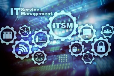 ITSM. IT Service Management. Concept for information technology service management on supercomputer background. RCS. Rich Communication Services. ommunication Protocol. Technology concept.