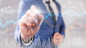 Obchodní finanční investice obchodování koncept grafu virtuální obrazovky dvojitá expozice.