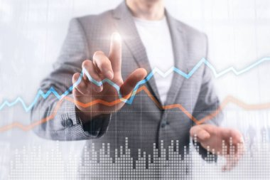 Business Financial Trading Investment concept graph virtual screen double exposure.