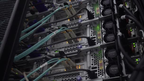 laufenden Server. Glasfaserkabel in Nahaufnahme. Netzwerktechnologie