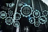 Tcp IP Vernetzung. Transmission Control Protocol. Internet-Technologie-Konzept.