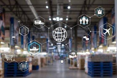 Logistics and transportation concept on supermarket background.