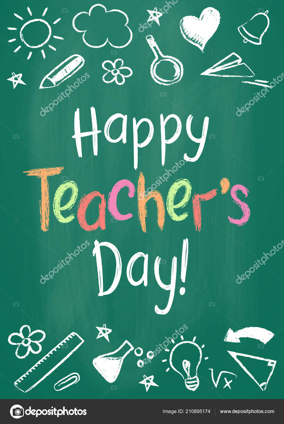 Happy teachers day greeting card or placard on green chalk board in happy teachers day greeting card or placard on green chalk board in sketchy style with handdrawn m4hsunfo