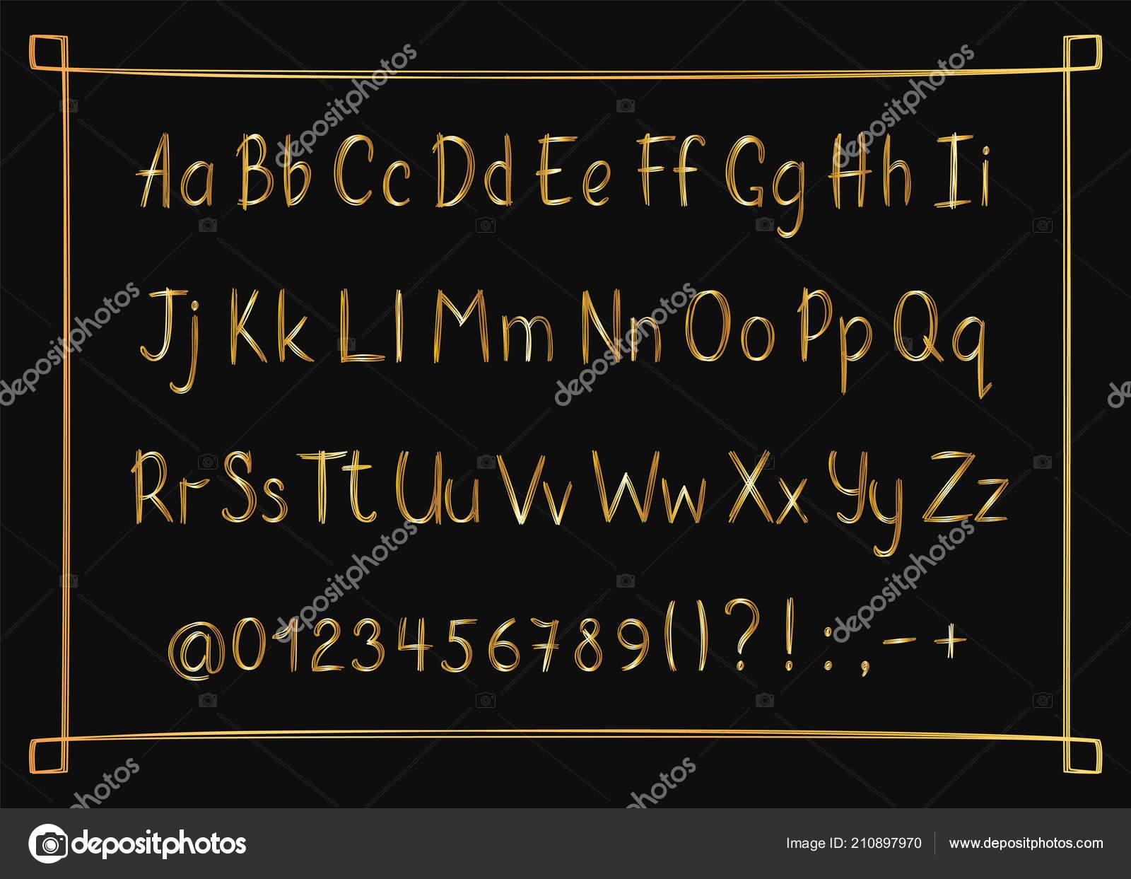 Golden alphabet in sketchy style with frame  Vector handwritten