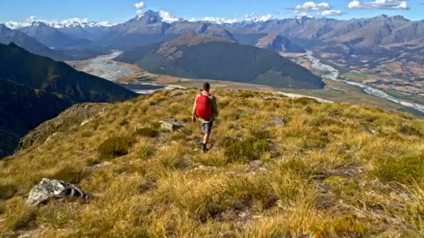 Aerial drone of young Caucasian adventure male traveller trekking clean wilderness of Mount Aspiring National Park New Zealand